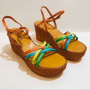 New! Skechers Multi Color Leather Wedge Sandals 9